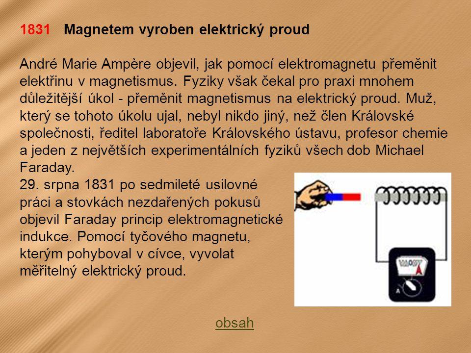 1831 Magnetem vyroben elektrický proud André Marie Ampère objevil, jak pomocí elektromagnetu přeměnit elektřinu v magnetismus.