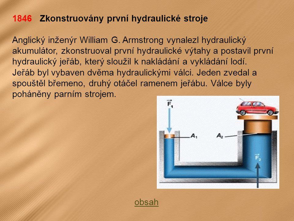 1846 Zkonstruovány první hydraulické stroje Anglický inženýr William G.