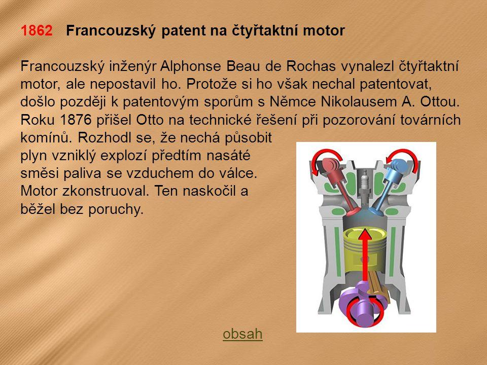 1862 Francouzský patent na čtyřtaktní motor Francouzský inženýr Alphonse Beau de Rochas vynalezl čtyřtaktní motor, ale nepostavil ho.