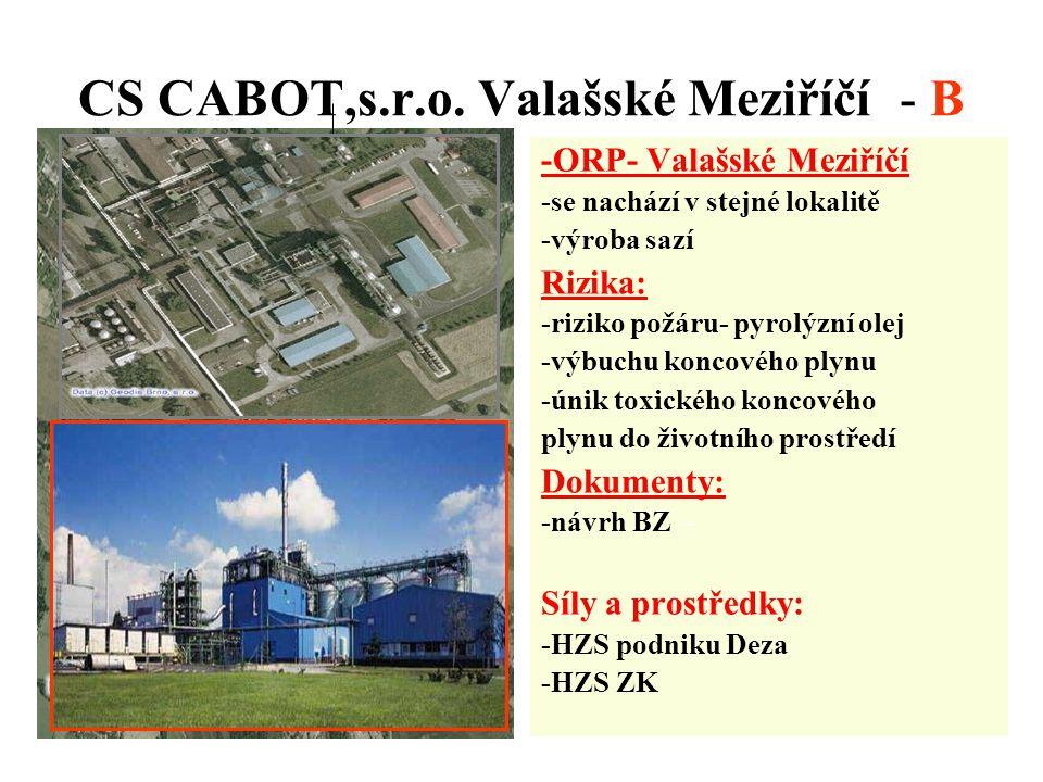 CS CABOT,s.r.o. Valašské Meziříčí - B -ORP- Valašské Meziříčí -se nachází v stejné lokalitě -výroba sazí Rizika: -riziko požáru- pyrolýzní olej -výbuc