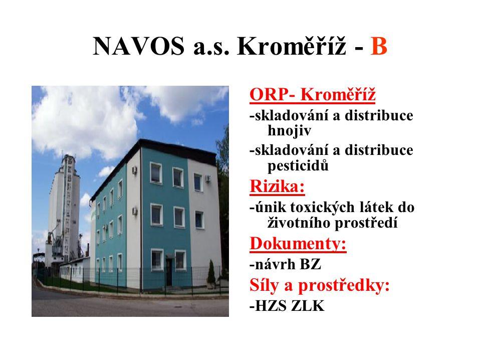 NAVOS a.s. Kroměříž - B ORP- Kroměříž -skladování a distribuce hnojiv -skladování a distribuce pesticidů Rizika: -únik toxických látek do životního pr