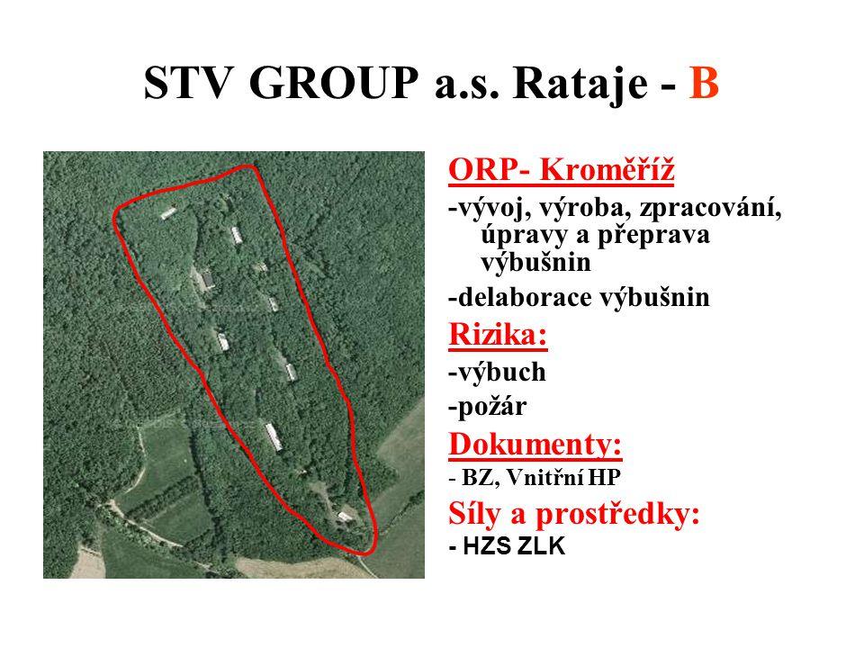 STV GROUP a.s. Rataje - B ORP- Kroměříž -vývoj, výroba, zpracování, úpravy a přeprava výbušnin -delaborace výbušnin Rizika: -výbuch -požár Dokumenty: