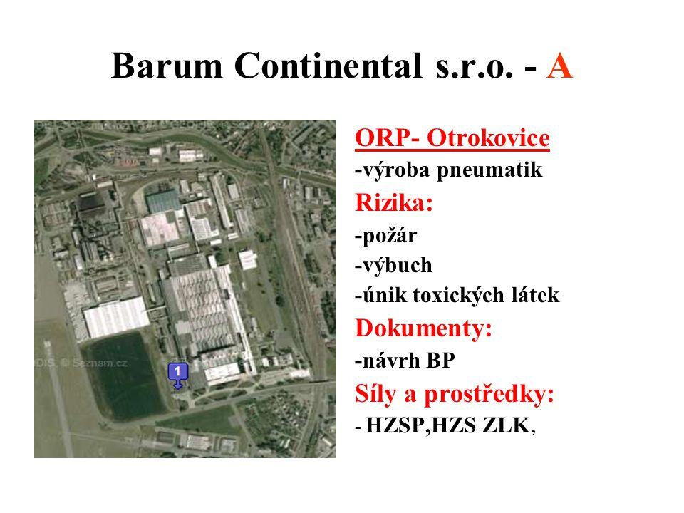 Barum Continental s.r.o. - A ORP- Otrokovice -výroba pneumatik Rizika: -požár -výbuch -únik toxických látek Dokumenty: -návrh BP Síly a prostředky: -