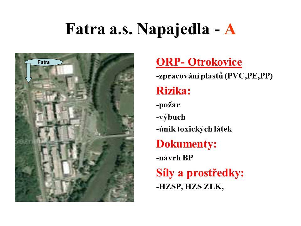Fatra a.s. Napajedla - A ORP- Otrokovice -zpracování plastů (PVC,PE,PP) Rizika: -požár -výbuch -únik toxických látek Dokumenty: -návrh BP Síly a prost