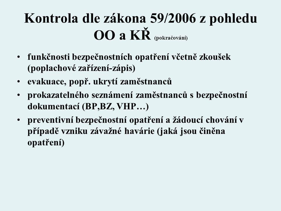 Kontrola dle zákona 59/2006 z pohledu OO a KŘ (pokračování) funkčnosti bezpečnostních opatření včetně zkoušek (poplachové zařízení-zápis) evakuace, po