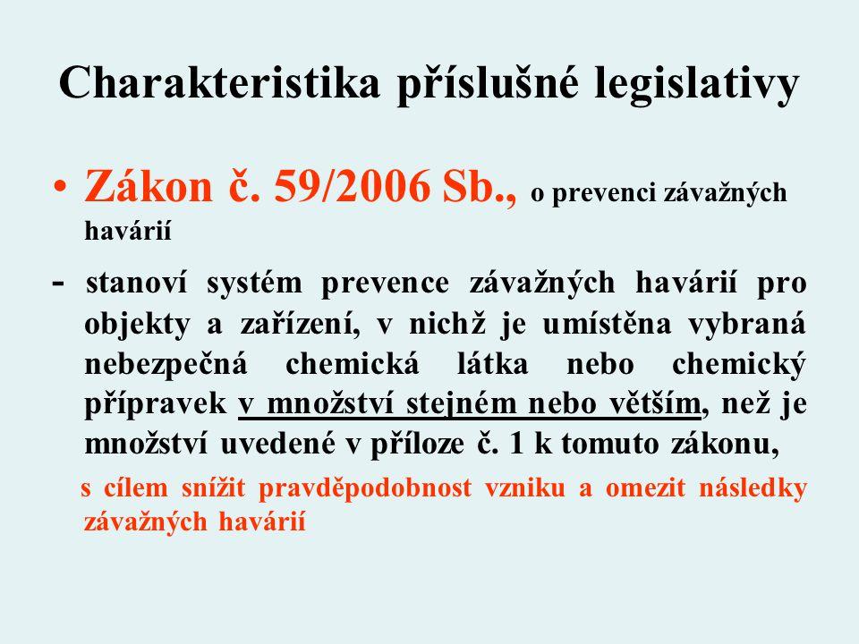 Charakteristika příslušné legislativy Zákon č. 59/2006 Sb., o prevenci závažných havárií - stanoví systém prevence závažných havárií pro objekty a zař