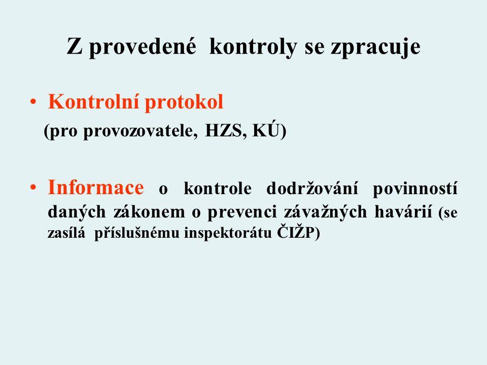 Z provedené kontroly se zpracuje Kontrolní protokol (pro provozovatele, HZS, KÚ) Informace o kontrole dodržování povinností daných zákonem o prevenci