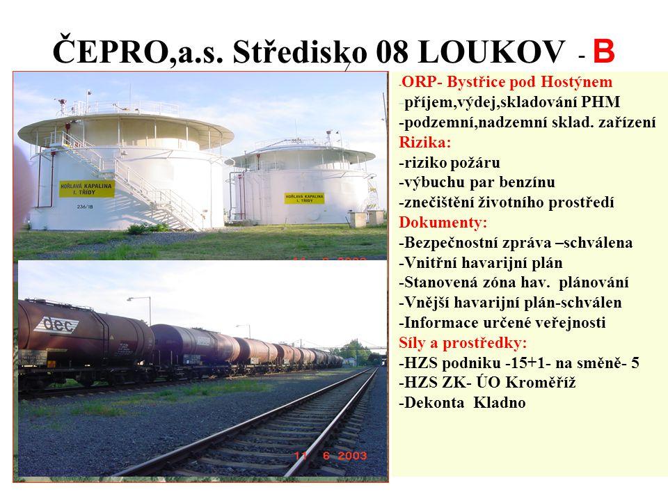 ČEPRO,a.s. Středisko 08 LOUKOV - B - ORP- Bystřice pod Hostýnem -příjem,výdej,skladování PHM -podzemní,nadzemní sklad. zařízení Rizika: -riziko požáru