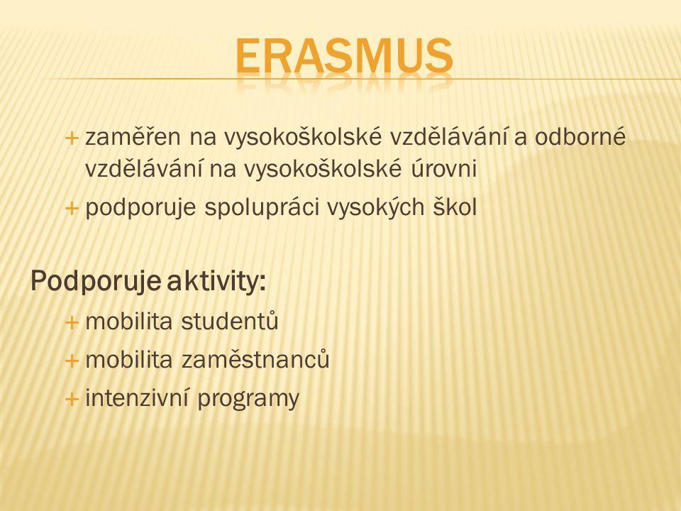  zaměřen na vysokoškolské vzdělávání a odborné vzdělávání na vysokoškolské úrovni  podporuje spolupráci vysokých škol Podporuje aktivity:  mobilita