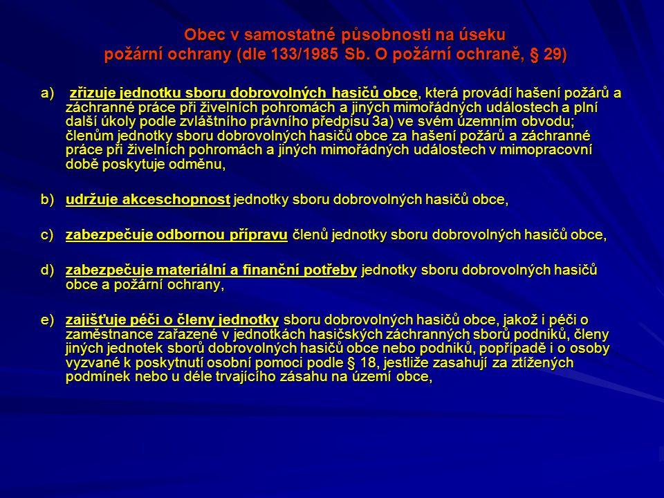 Obec v samostatné působnosti na úseku požární ochrany (dle 133/1985 Sb. O požární ochraně, § 29) požární ochrany (dle 133/1985 Sb. O požární ochraně,