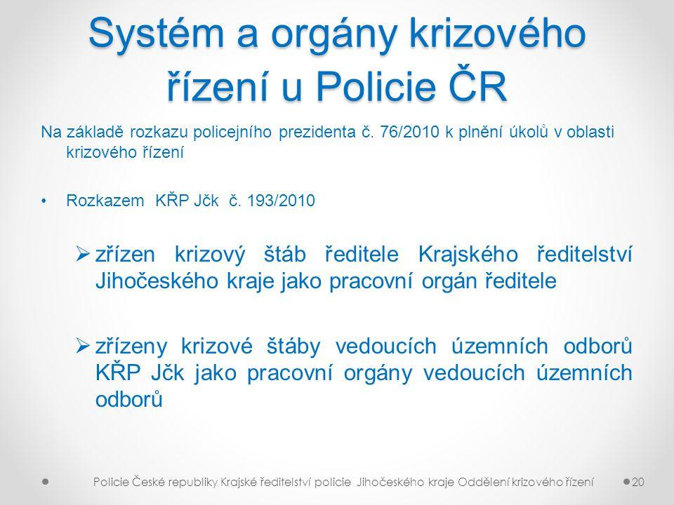 Systém a orgány krizového řízení u Policie ČR Na základě rozkazu policejního prezidenta č. 76/2010 k plnění úkolů v oblasti krizového řízení Rozkazem
