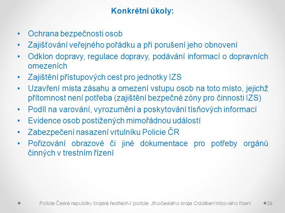 Konkrétní úkoly: Ochrana bezpečnosti osob Zajišťování veřejného pořádku a při porušení jeho obnovení Odklon dopravy, regulace dopravy, podávání inform