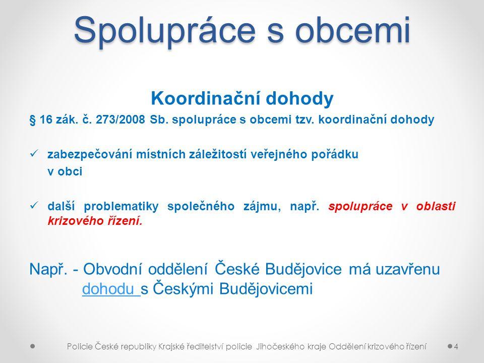 Spolupráce s obcemi Koordinační dohody § 16 zák. č. 273/2008 Sb. spolupráce s obcemi tzv. koordinační dohody zabezpečování místních záležitostí veřejn