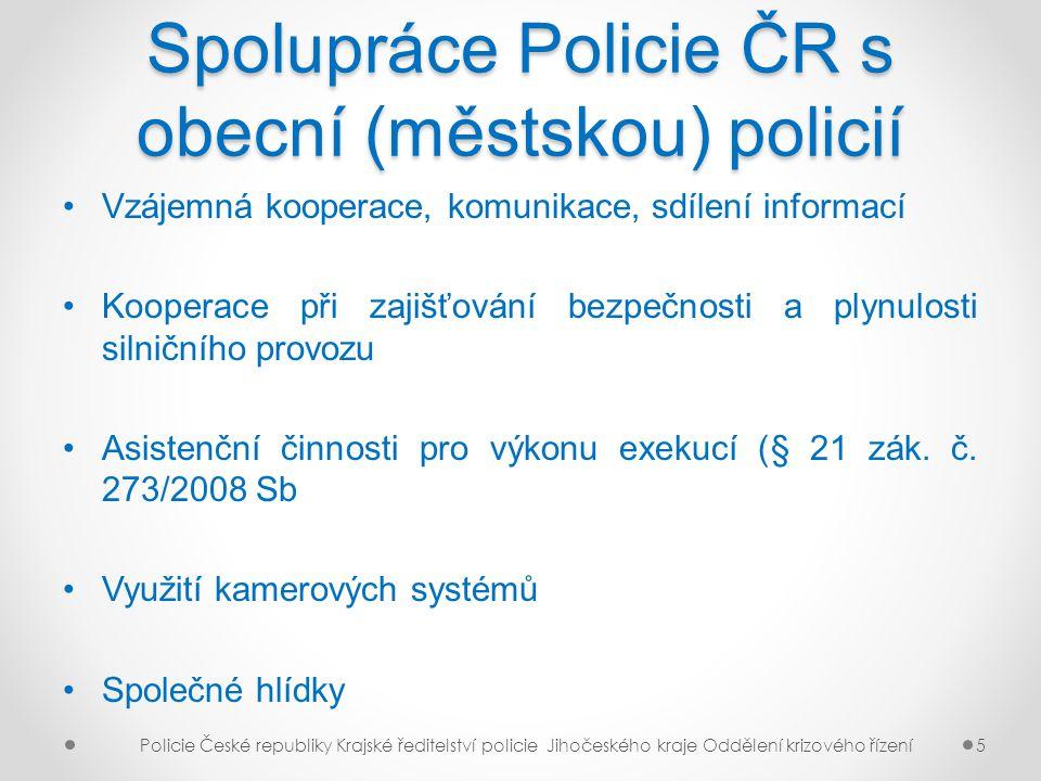 Spolupráce Policie ČR s obecní (městskou) policií Vzájemná kooperace, komunikace, sdílení informací Kooperace při zajišťování bezpečnosti a plynulosti