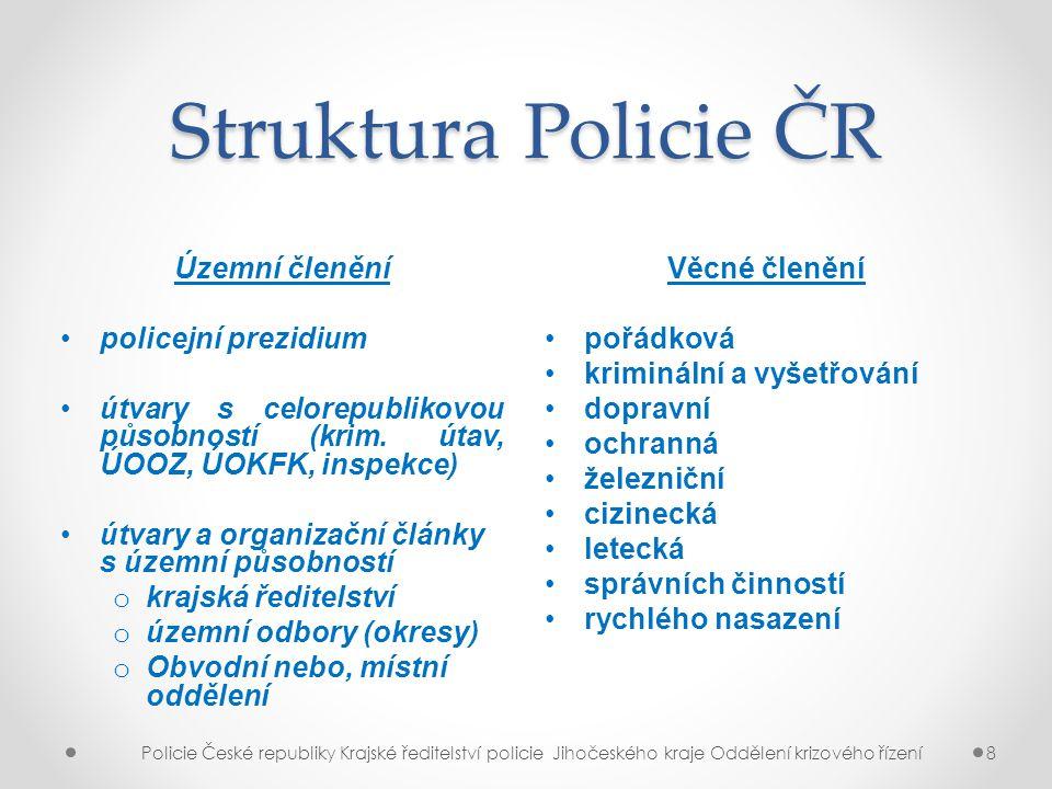 Struktura Policie ČR Územní členění policejní prezidium útvary s celorepublikovou působností (krim. útav, ÚOOZ, ÚOKFK, inspekce) útvary a organizační