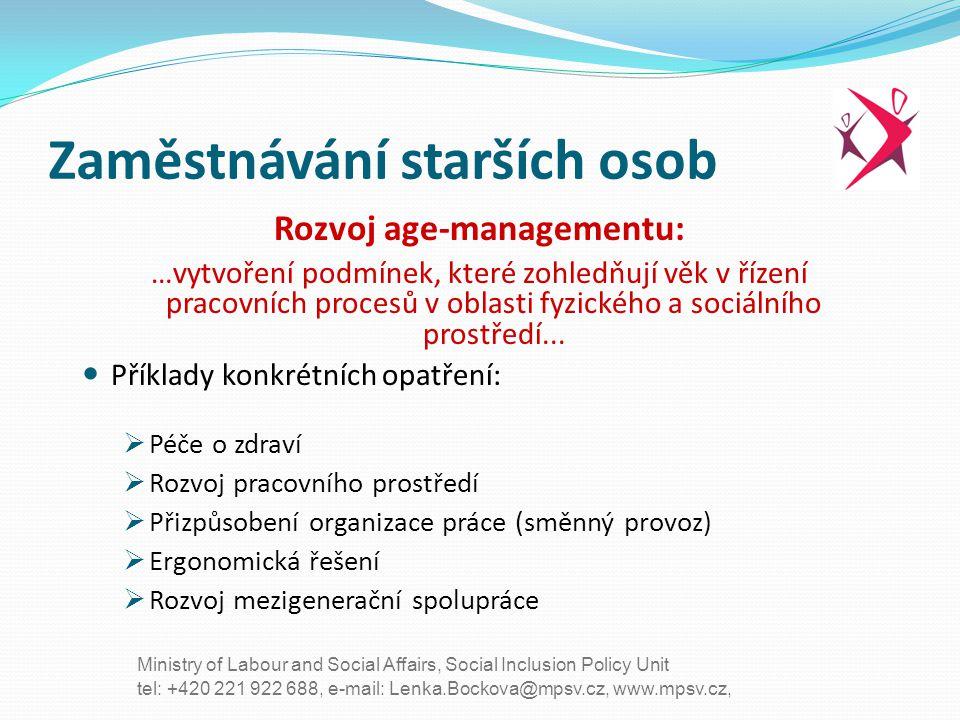 tel: +420 221 922 688, e-mail: Lenka.Bockova@mpsv.cz, www.mpsv.cz, Ministry of Labour and Social Affairs, Social Inclusion Policy Unit Zaměstnávání st