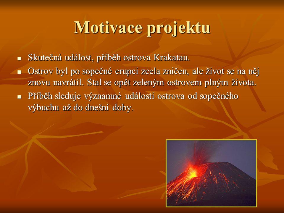 Motivace projektu Skutečná událost, příběh ostrova Krakatau.