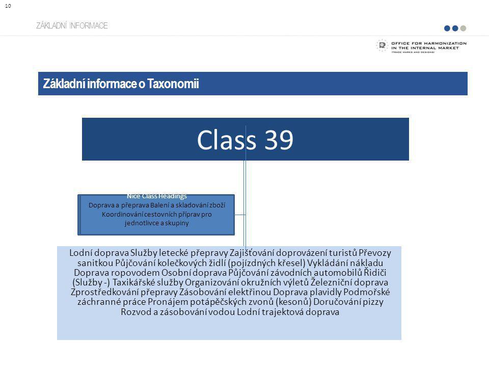 ZÁKLADNÍ INFORMACE Základní informace o Taxonomii 10 Lodní doprava Služby letecké přepravy Zajišťování doprovázení turistů Převozy sanitkou Půjčování
