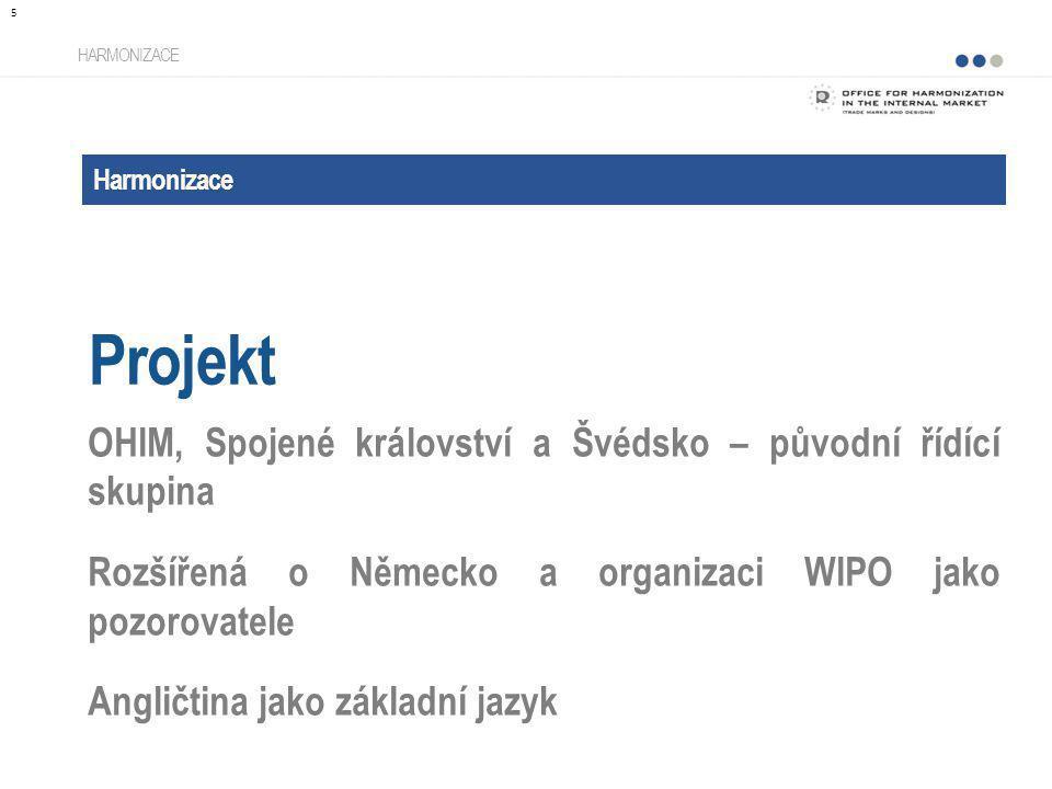 Harmonizace Projekt HARMONIZACE OHIM, Spojené království a Švédsko – původní řídící skupina Rozšířená o Německo a organizaci WIPO jako pozorovatele An