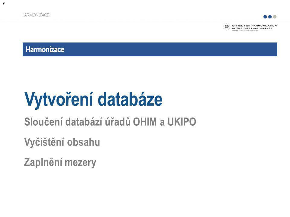 Harmonizace Vytvoření databáze HARMONIZACE Sloučení databází úřadů OHIM a UKIPO Vyčištění obsahu Zaplnění mezery 6