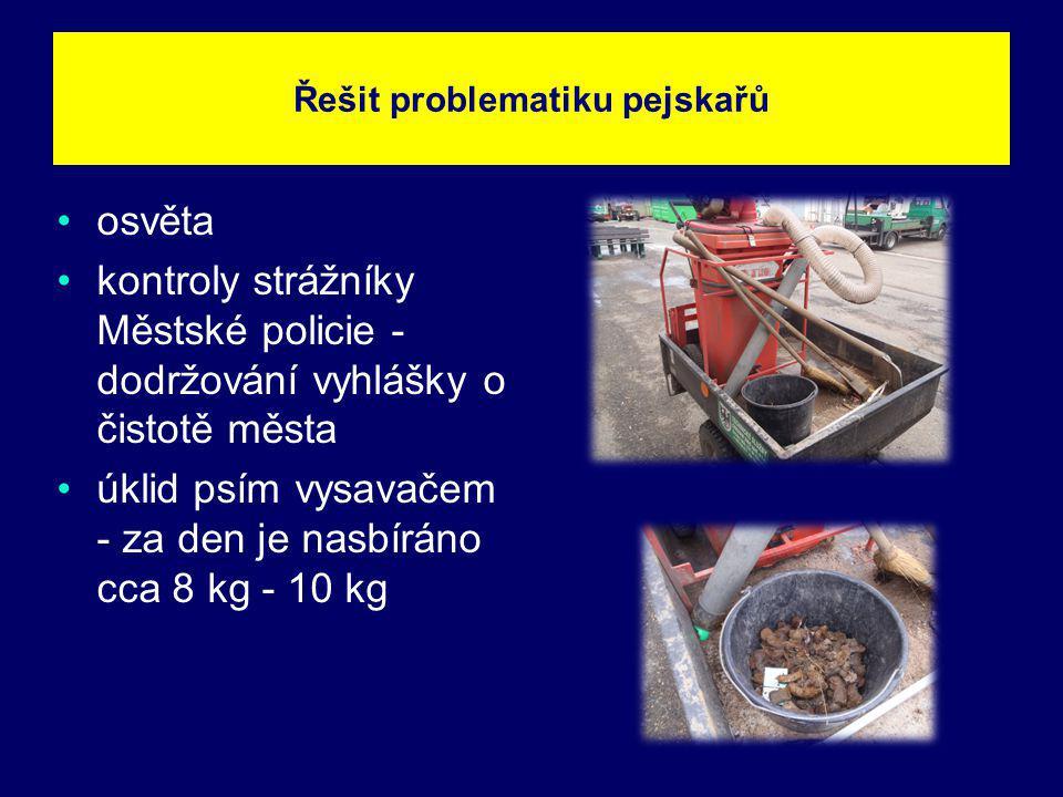 osvěta kontroly strážníky Městské policie - dodržování vyhlášky o čistotě města úklid psím vysavačem - za den je nasbíráno cca 8 kg - 10 kg Řešit prob