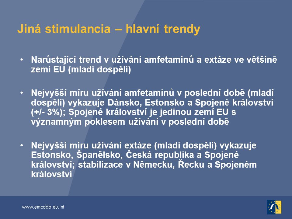 Jiná stimulancia – hlavní trendy Narůstající trend v užívání amfetaminů a extáze ve většině zemí EU (mladí dospělí) Nejvyšší míru užívání amfetaminů v