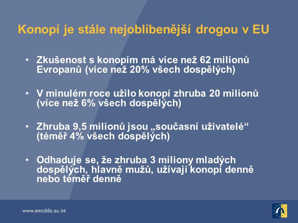Konopí je stále nejoblíbenější drogou v EU Zkušenost s konopím má více než 62 milionů Evropanů (více než 20% všech dospělých) V minulém roce užilo kon
