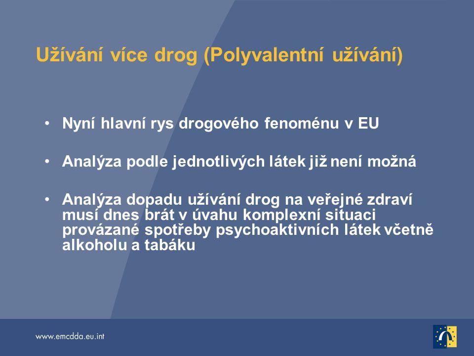 Užívání více drog (Polyvalentní užívání) Nyní hlavní rys drogového fenoménu v EU Analýza podle jednotlivých látek již není možná Analýza dopadu užíván