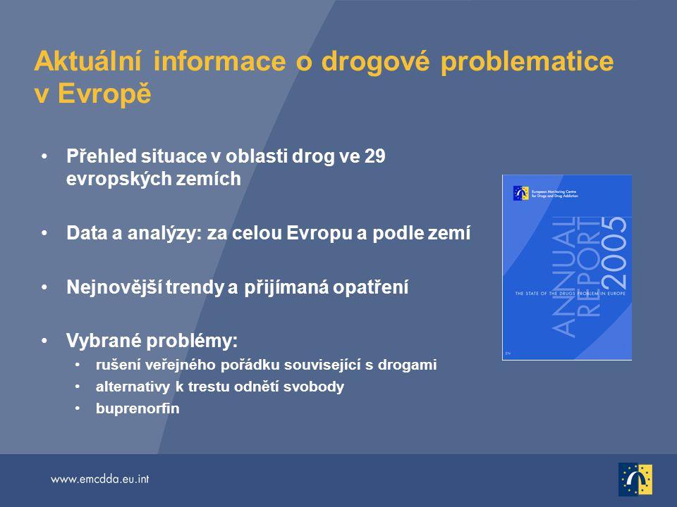 Aktuální informace o drogové problematice v Evropě Přehled situace v oblasti drog ve 29 evropských zemích Data a analýzy: za celou Evropu a podle zemí