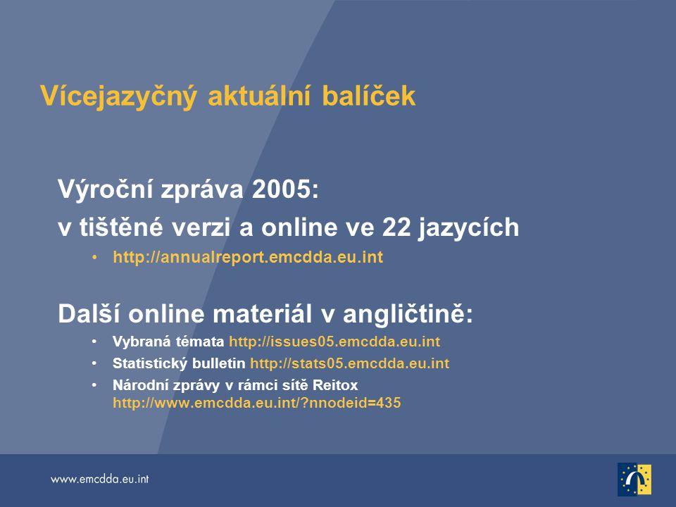 Vícejazyčný aktuální balíček Výroční zpráva 2005: v tištěné verzi a online ve 22 jazycích http://annualreport.emcdda.eu.int Další online materiál v an