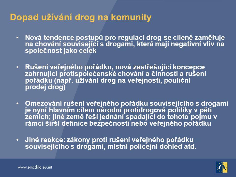 Dopad užívání drog na komunity Nová tendence postupů pro regulaci drog se cíleně zaměřuje na chování související s drogami, která mají negativní vliv
