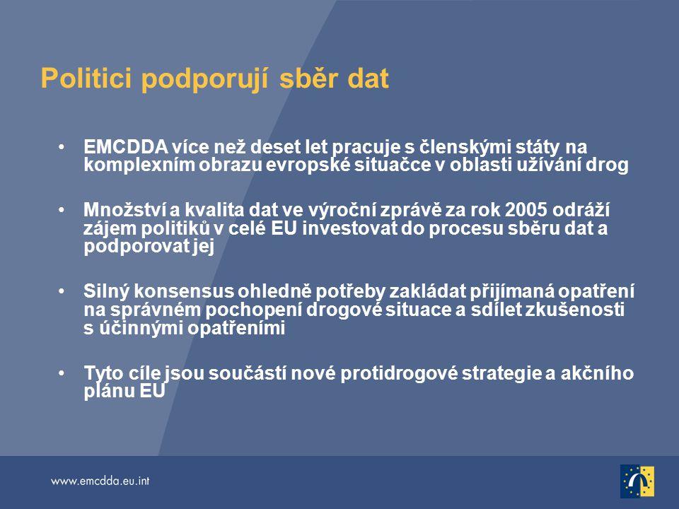Politici podporují sběr dat EMCDDA více než deset let pracuje s členskými státy na komplexním obrazu evropské situačce v oblasti užívání drog Množství