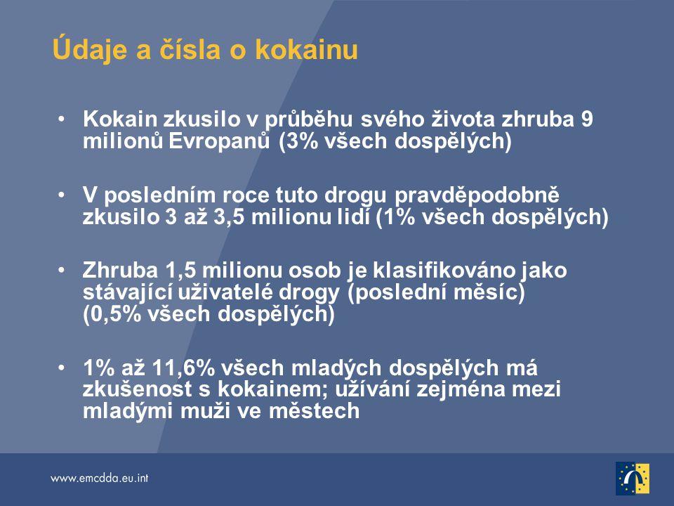 Kokain zkusilo v průběhu svého života zhruba 9 milionů Evropanů (3% všech dospělých) V posledním roce tuto drogu pravděpodobně zkusilo 3 až 3,5 milion