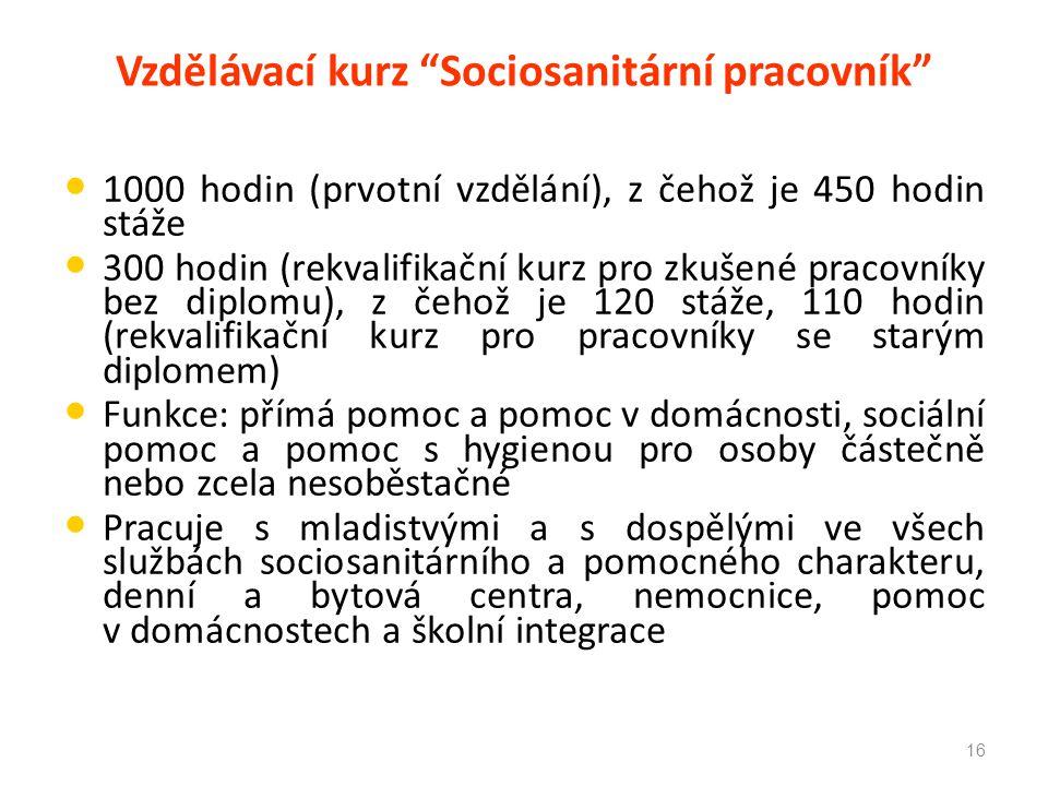 """Vzdělávací kurz """"Sociosanitární pracovník"""" 1000 hodin (prvotní vzdělání), z čehož je 450 hodin stáže 300 hodin (rekvalifikační kurz pro zkušené pracov"""