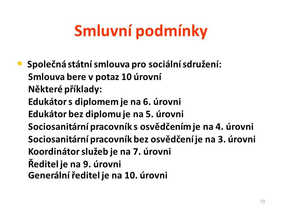 Smluvní podmínky Společná státní smlouva pro sociální sdružení: Smlouva bere v potaz 10 úrovní Některé příklady: Edukátor s diplomem je na 6. úrovni E