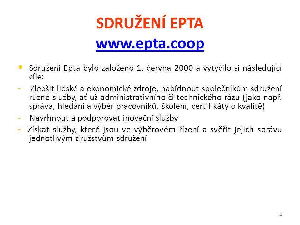SDRUŽENÍ EPTA www.epta.coop www.epta.coop Sdružení Epta bylo založeno 1. června 2000 a vytyčilo si následující cíle: - Zlepšit lidské a ekonomické zdr