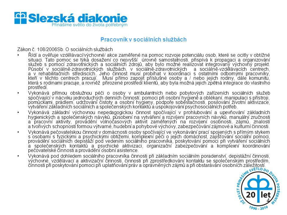 Pracovník v sociálních službách Zákon č.108/2006Sb.
