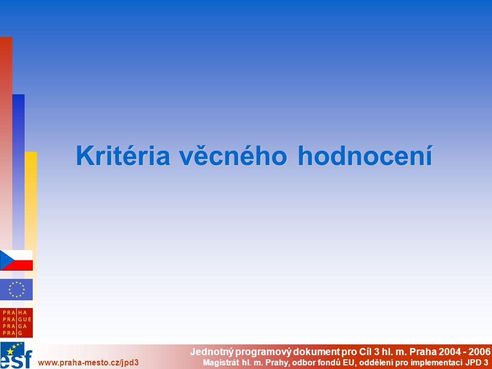 Jednotný programový dokument pro Cíl 3 hl. m.