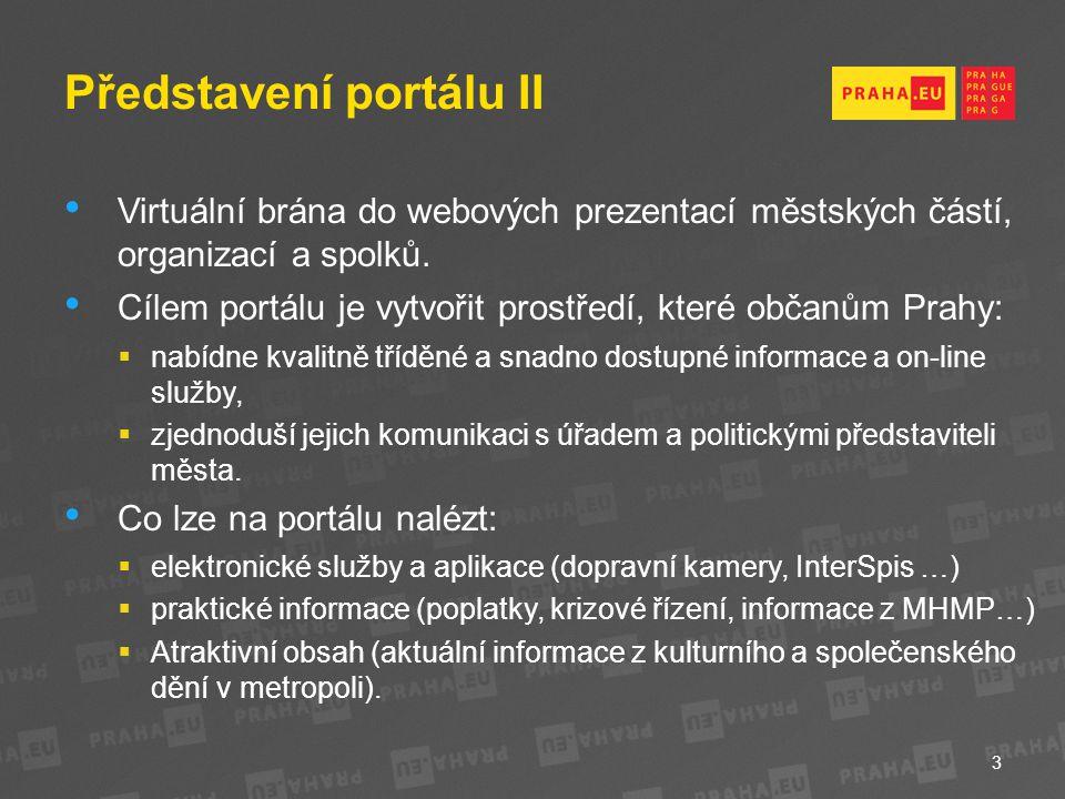 Představení portálu II Virtuální brána do webových prezentací městských částí, organizací a spolků.