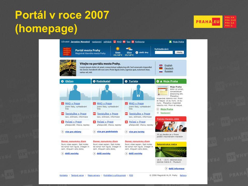 Portál v roce 2007 (homepage)