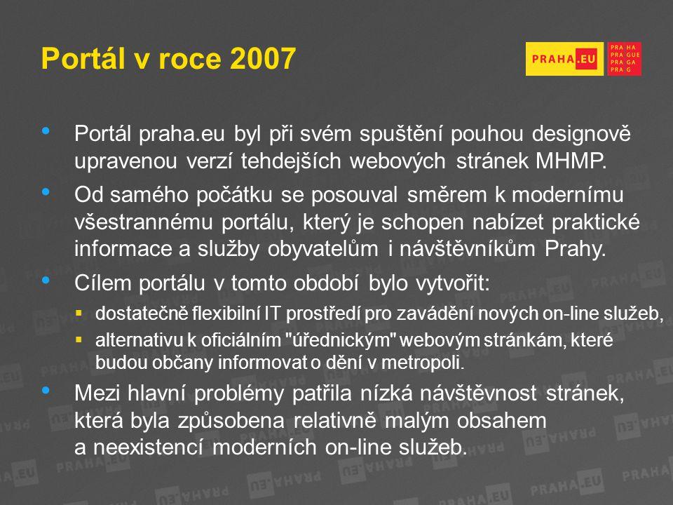 Portál v roce 2007 Portál praha.eu byl při svém spuštění pouhou designově upravenou verzí tehdejších webových stránek MHMP.