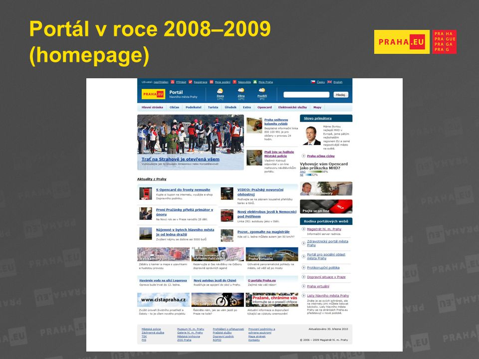 Portál v roce 2008–2009 (homepage)