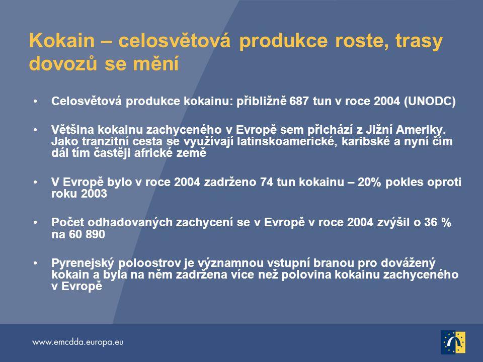 Kokain – celosvětová produkce roste, trasy dovozů se mění Celosvětová produkce kokainu: přibližně 687 tun v roce 2004 (UNODC) Většina kokainu zachyceného v Evropě sem přichází z Jižní Ameriky.
