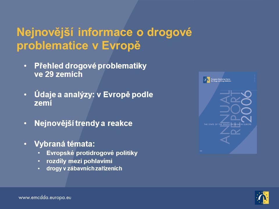 Nejnovější informace o drogové problematice v Evropě Přehled drogové problematiky ve 29 zemích Údaje a analýzy: v Evropě podle zemí Nejnovější trendy