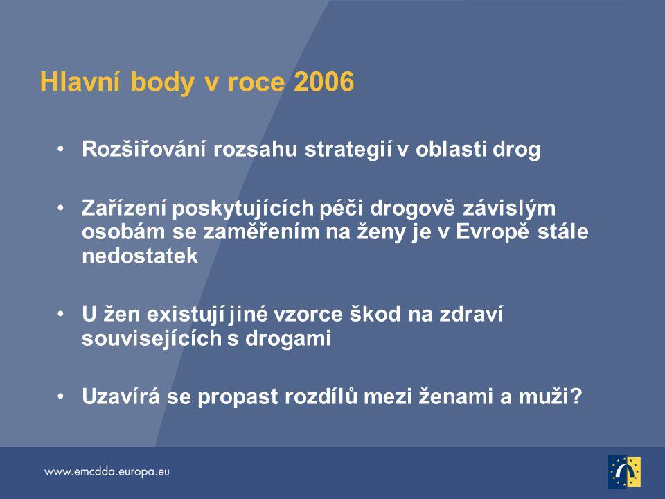 Hlavní body v roce 2006 Rozšiřování rozsahu strategií v oblasti drog Zařízení poskytujících péči drogově závislým osobám se zaměřením na ženy je v Evropě stále nedostatek U žen existují jiné vzorce škod na zdraví souvisejících s drogami Uzavírá se propast rozdílů mezi ženami a muži