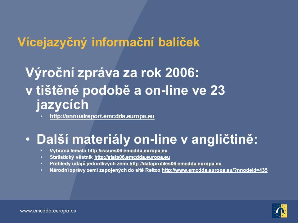 Vícejazyčný informační balíček Výroční zpráva za rok 2006: v tištěné podobě a on-line ve 23 jazycích http://annualreport.emcdda.europa.eu Další materiály on-line v angličtině: Vybraná témata http://issues06.emcdda.europa.euhttp://issues06.emcdda.europa.eu Statistický věstník http://stats06.emcdda.europa.euhttp://stats06.emcdda.europa.eu Přehledy údajů jednotlivých zemí http://dataprofiles06.emcdda.europa.euhttp://dataprofiles06.emcdda.europa.eu Národní zprávy zemí zapojených do sítě Reitox http://www.emcdda.europa.eu/ nnodeid=435http://www.emcdda.europa.eu/ nnodeid=435