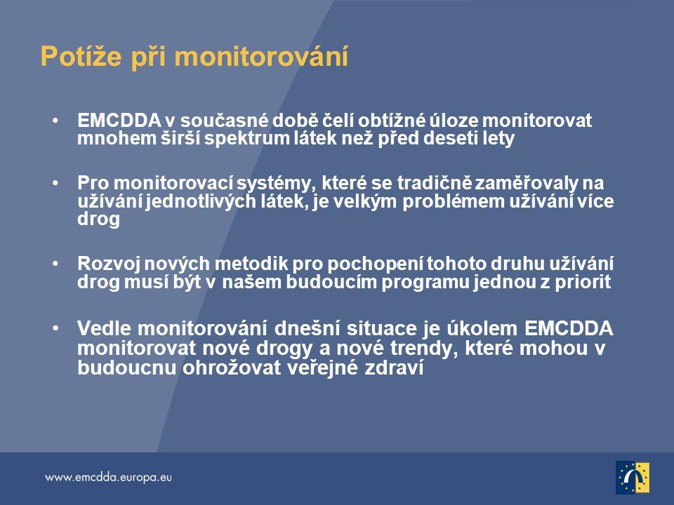 Potíže při monitorování EMCDDA v současné době čelí obtížné úloze monitorovat mnohem širší spektrum látek než před deseti lety Pro monitorovací systémy, které se tradičně zaměřovaly na užívání jednotlivých látek, je velkým problémem užívání více drog Rozvoj nových metodik pro pochopení tohoto druhu užívání drog musí být v našem budoucím programu jednou z priorit Vedle monitorování dnešní situace je úkolem EMCDDA monitorovat nové drogy a nové trendy, které mohou v budoucnu ohrožovat veřejné zdraví