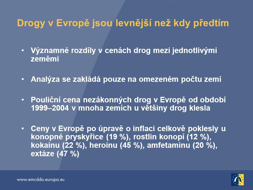 Drogy v Evropě jsou levnější než kdy předtím Významné rozdíly v cenách drog mezi jednotlivými zeměmi Analýza se zakládá pouze na omezeném počtu zemí Pouliční cena nezákonných drog v Evropě od období 1999–2004 v mnoha zemích u většiny drog klesla Ceny v Evropě po úpravě o inflaci celkově poklesly u konopné pryskyřice (19 %), rostlin konopí (12 %), kokainu (22 %), heroinu (45 %), amfetaminu (20 %), extáze (47 %)