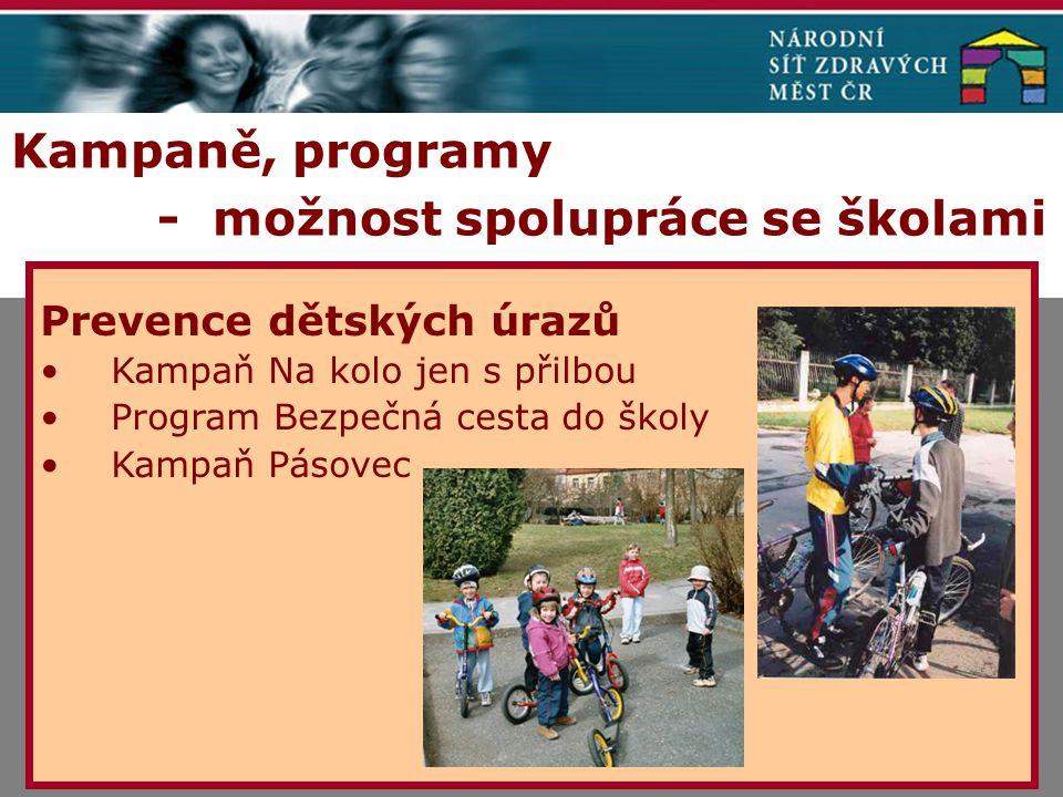 Kampaně, programy - možnost spolupráce se školami Prevence dětských úrazů Kampaň Na kolo jen s přilbou Program Bezpečná cesta do školy Kampaň Pásovec