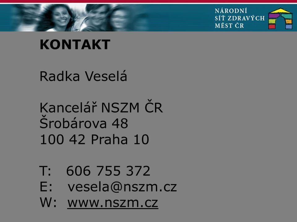 KONTAKT Radka Veselá Kancelář NSZM ČR Šrobárova 48 100 42 Praha 10 T: 606 755 372 E: vesela@nszm.cz W: www.nszm.cz